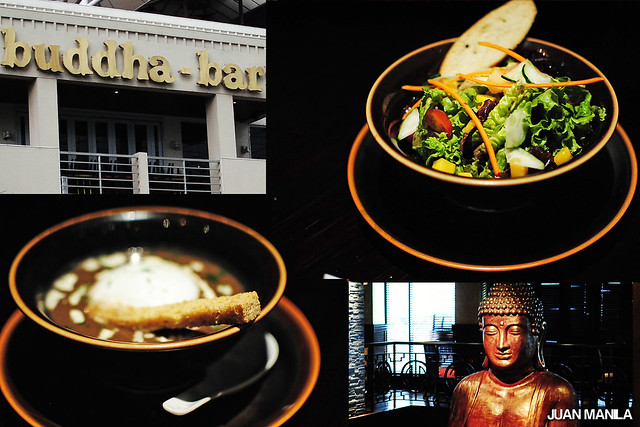 Buddha-Bar Manila Business Lunch offers delectable choices of Mushroom Cappuccino Soup; Salad Mesclun with Tropical Fruits; or Oriental Balsamic Vinaigrette.
