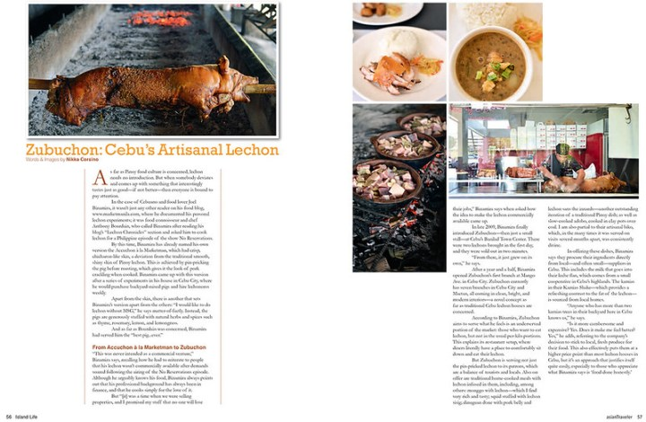 Media: Zubuchon, AsianTraveler Magazine Philippines Special Issue, Island Life 2014
