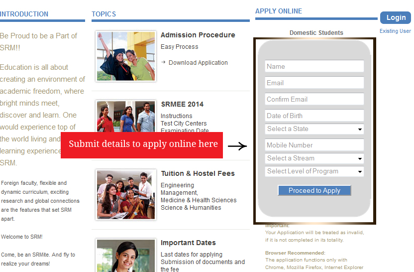 SRMEE 2014 Application Form   Instruction and apply online in news  Category