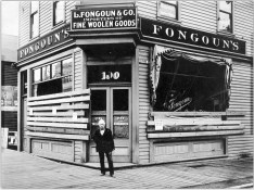 Hastings Street and Columbia Street, southeast corner after anti-oriental riots of 1907, (Chung Collection, UBC Rare Books & Special Collections - CC-PH-00230)
