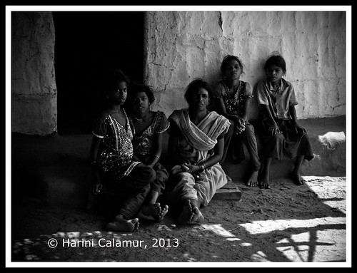 The gathering of women - black and white copy