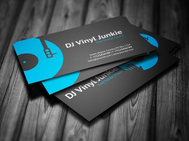 Vinyl DJ Business Card Template Design4DJ  Promotional print