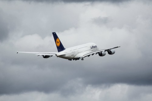 Lufthansa A380 Departing IAH