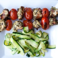 Pesto Chicken and Grape Tomato Skewers