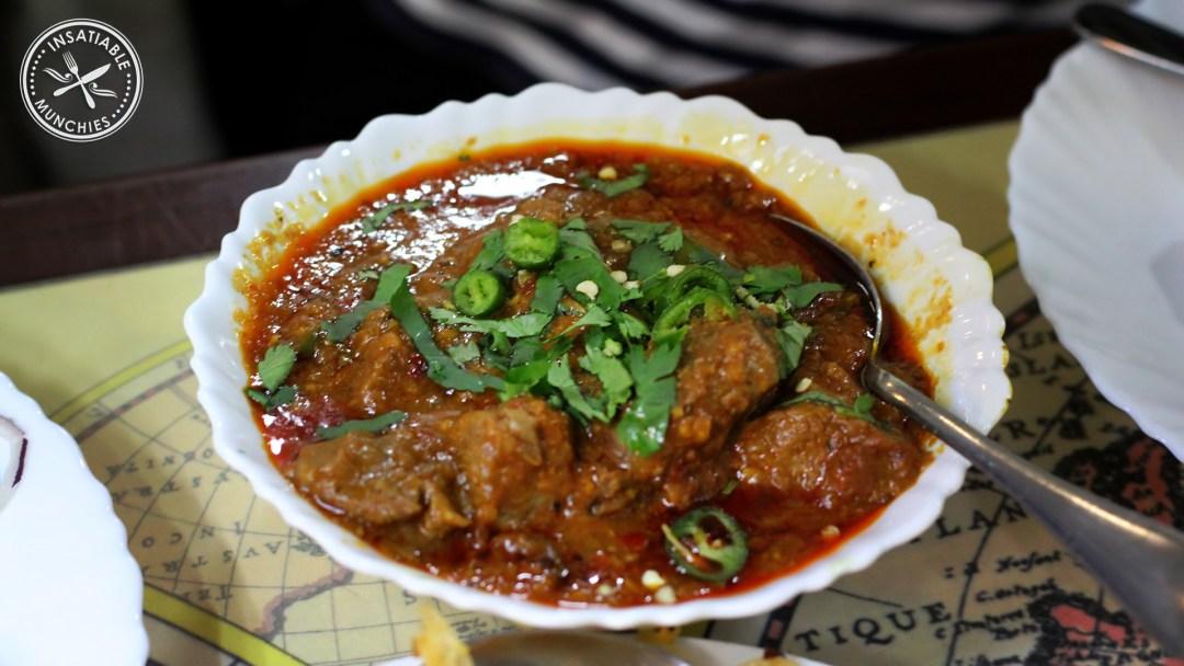 A bowl of Lamb Kharai, a hot lamb curry