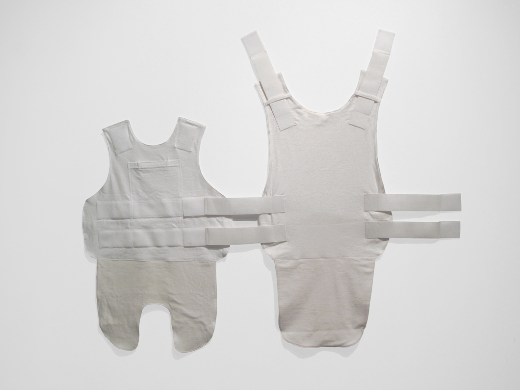 "Thomas McDonell Vest (All White Everything) T-shirts, elastic, and Velcro with trauma insert; 35"" x 44"""