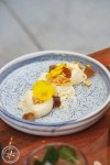 Honey done three ways: A light mousse, honey jelly, and honey comb.