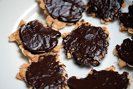 chocolate-dipped florentines