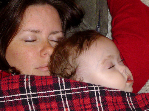 sleeping mommy and Maddie