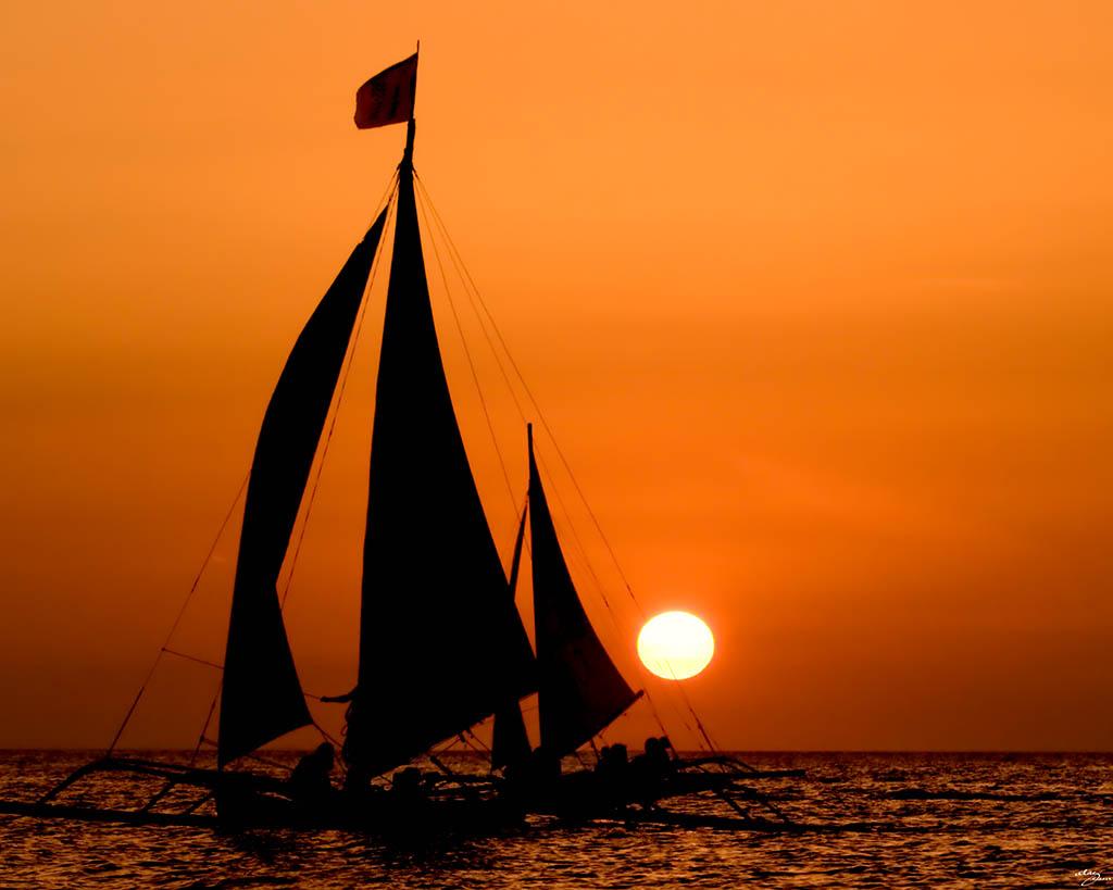 3d Wallpaper Ocean Of Sailboat Amp Sunset Sailboat Amp Sunset Series Boracay