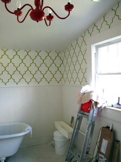 Our bathroom wallpaper is almost completed! I'm so excited! It's… - oldhouses