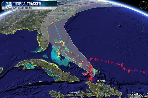 Tropical Storm Hanna at 11PM 09/02: Forecast Path w/ Cone