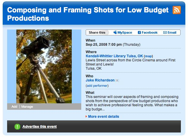Jake Richardson - Composing and Framing Shots for Low Budget Film Productions