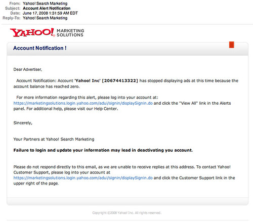 Beware of Yahoo Search Marketing Phishing Email Scams - email marketing sample