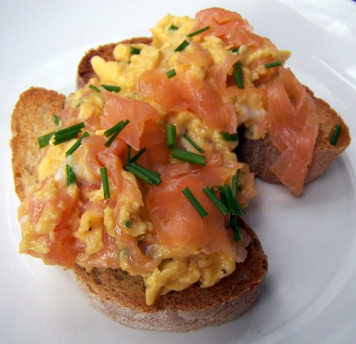 Decadent brunch - Scrambled eggs with smoked salmon and chives