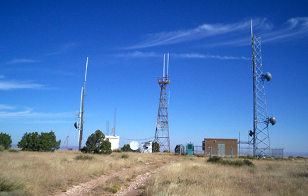 Towers on top of Tucumcari Mountain.