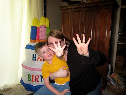 Jen and Brian declaring Brian's age (he's four).