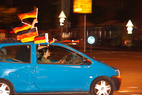 Flags on car