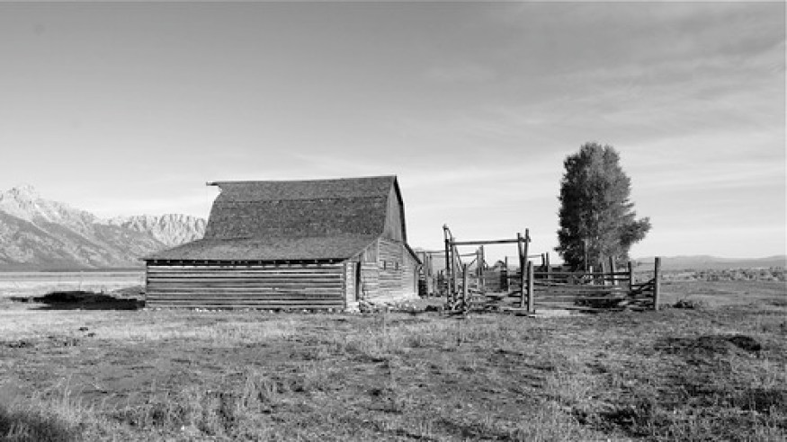 Morman Row Barn black and white