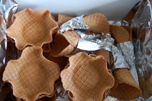 box of vegan waffle cones and bowls