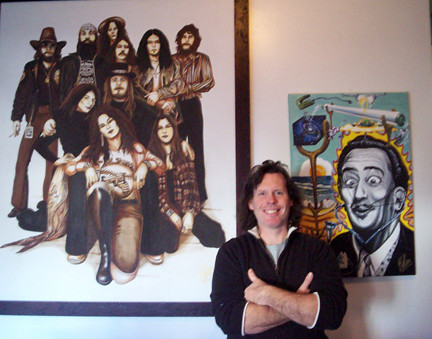 Bill Foss and his paintings of Lynyrd Skynyrd and Salvadore Dali (with a 3-D moustache).