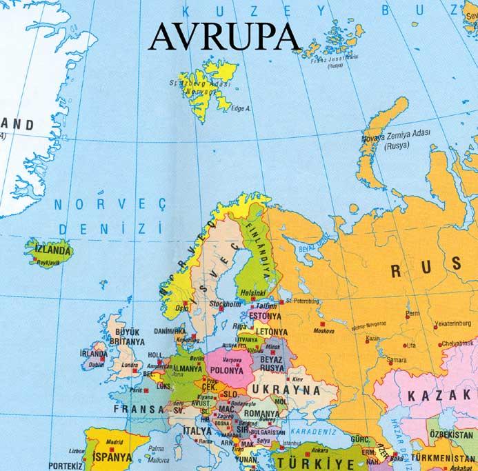 Asya, Avrupa, Afrika, Avustralya, Güney Amerika ve Kuzey Amerika - amerika haritasi