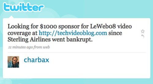 Twitter / charbax: Looking for $1000 sponsor ...
