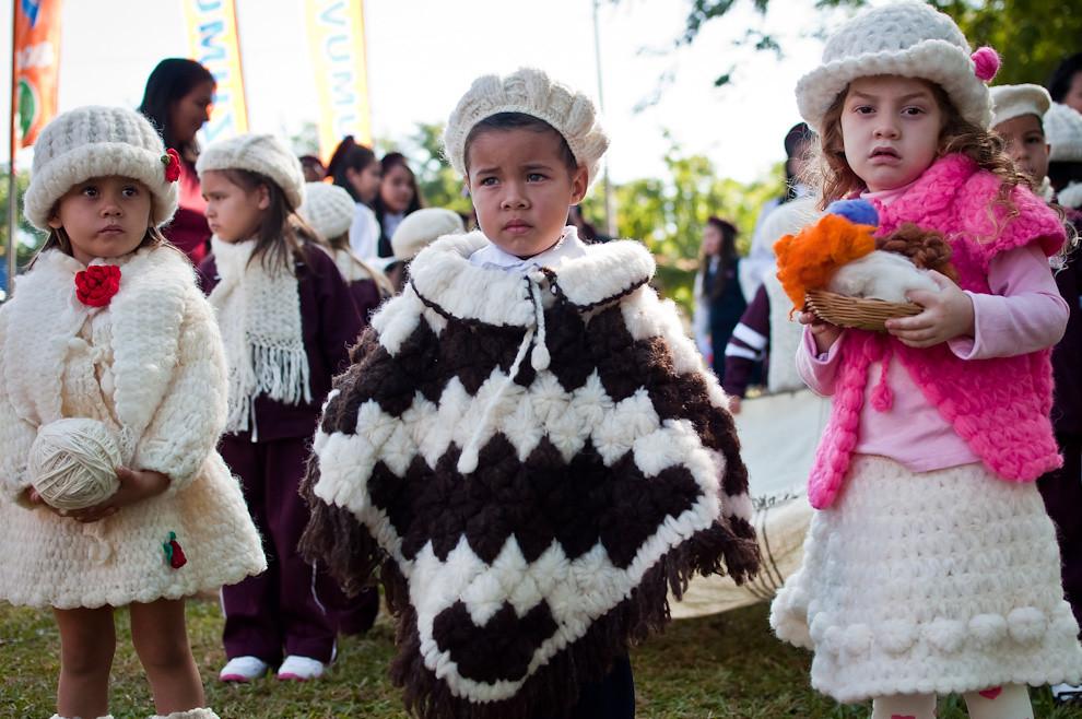 """Alumnos del Centro Educativo y Escuela Básica Nº 132 """"San Miguel Arcangel"""" visten prendas elaboradas con lana de oveja en la mañana del sábado 11 de Junio. El centro educativo preparó un emotivo desfile protagonizando a sus pequeños alumnos del primer grado con representaciones de personajes históricos, héroes de guerra y alegorías bicentenarias. (Elton Núñez, San Miguel - Paraguay)"""