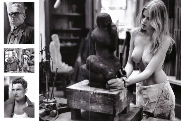 Vogue Italy - December 2008 - The Art Apprentice - Lara Stone
