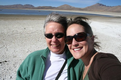 Clare and I rock the salt flats