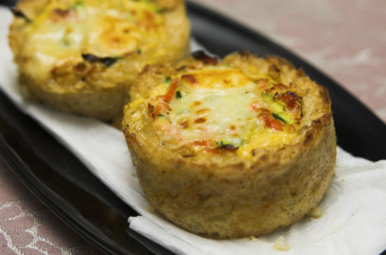 Zucchini and feta rice tarts