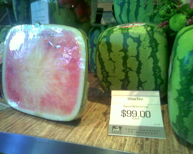Square watermelons at Urban Fare