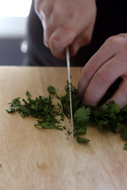 chopping parsley for Tabbouleh