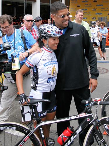 Coryn Rivera with Mayor Kevin Johnson