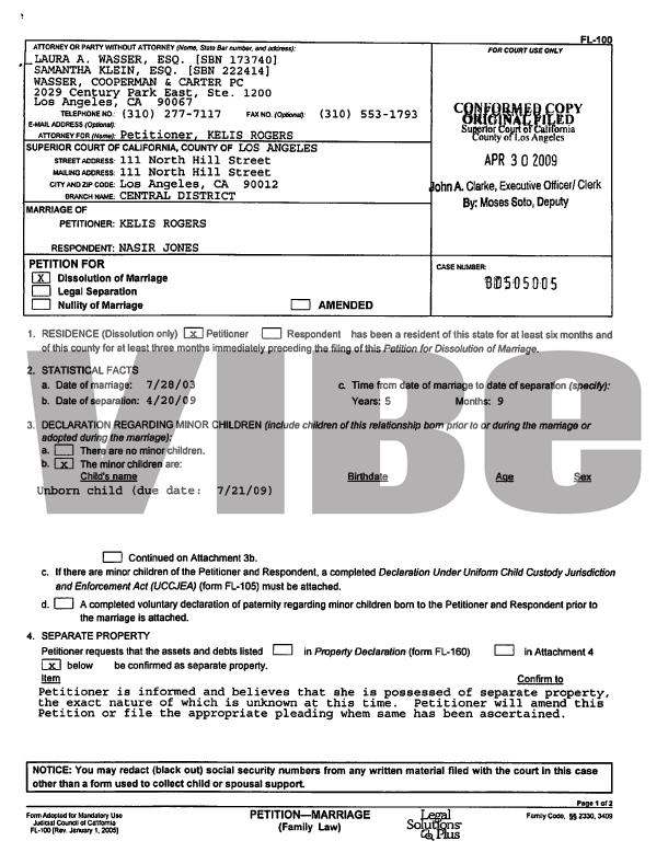 MissInfotv » Kelis and Nas the Divorce Filing - blank divorce papers