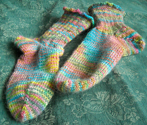 Fuzzy Rainbow Socks