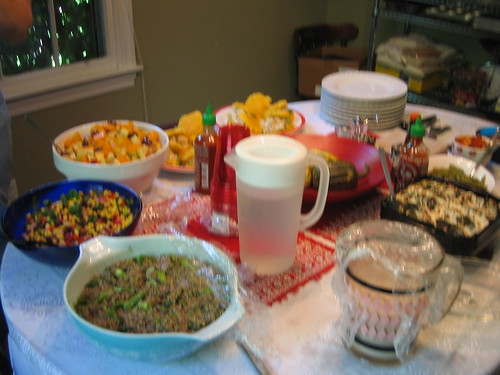 fruit salad, corn and black bean salad, quinoa salad