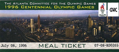 1996 Atlanta Olympics Meal ticket