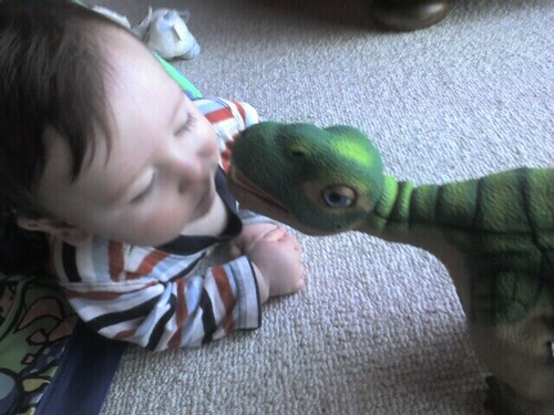 Baby Jude and pleo