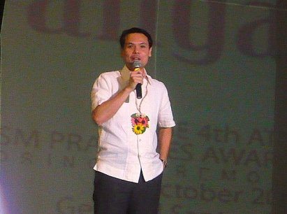 DOT Secretary Ace Durano at the Awards Night of the Best Tourism Practices Awards during the 10th ATOP National Convention.