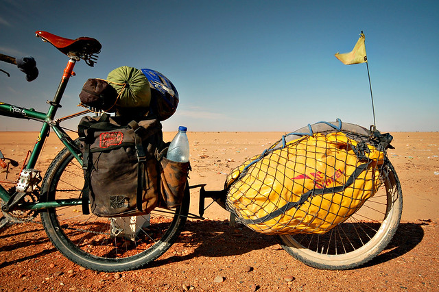 My bike's rear end in the Sudanese desert