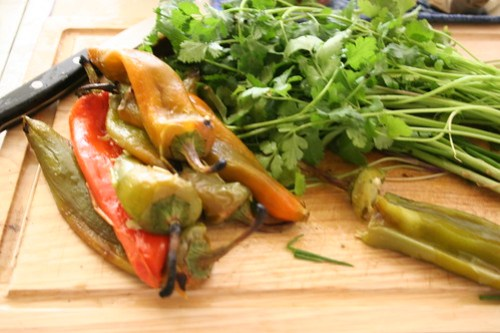 Roasted peppers, cilantro