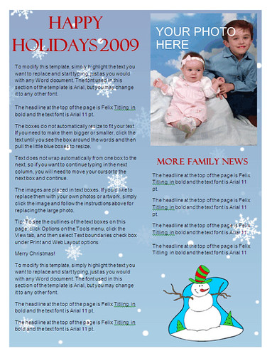 Christmas Newsletter Template - Snowflake Background at