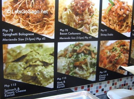 The rest of the Menu: 3 Ravioli & 5 Pasta Sets