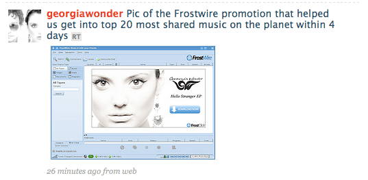 Georgia wonder twitters about their sucess with the FrostWire Promotion