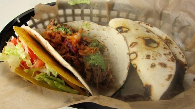 taco trio at bad dog taqueria