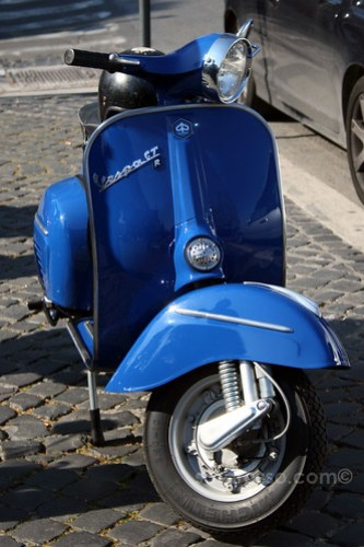 Bright Blue Vespa in Rome, Italy