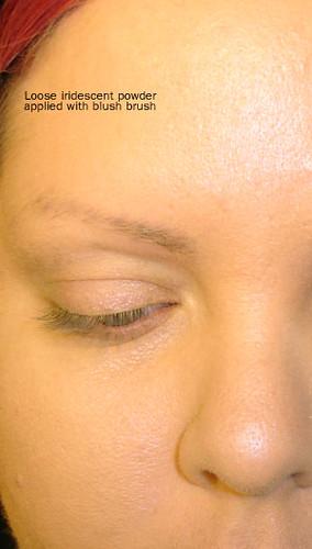 Iridescent loose powder on skin