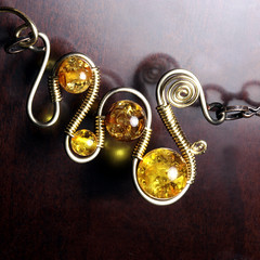 steampunk Jewelry made by CatherinetteRings- Wire wrapped necklace with amber beads