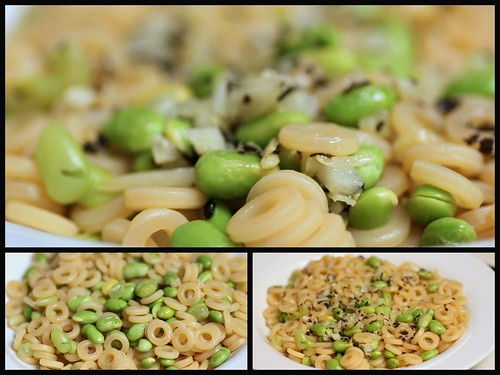 ring pasta with edamame